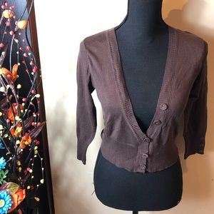 Maurice's Brown Cropped Button Cardigan Shrug NWOT